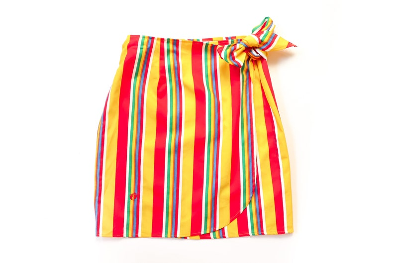5b74b1f2ef92 1990s STRIPED Mini Skirt 90s WRAP Rainbow Stripes Soft Grunge