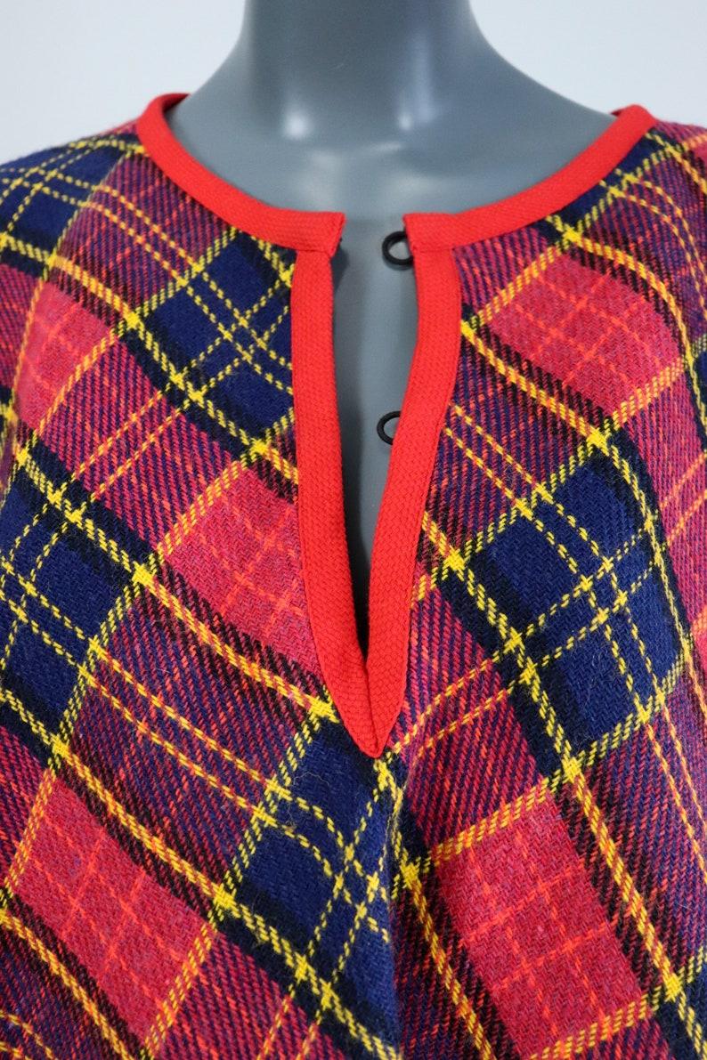 70s Plaid Wool Fringe Cape 60s Poncho 1960s Mod Jacket 1970s Groovy Coat Shawl Hippie Retro Navy Red Keyhole 1960s Mini Dress Open Size