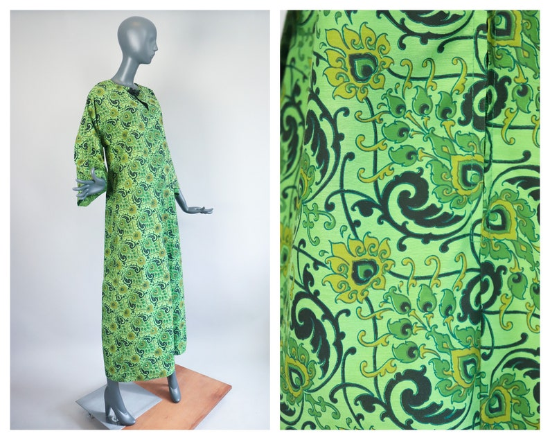 Psychedelic Caftan 70s Cotton Dress 1970s Maxi Bohemian image 0