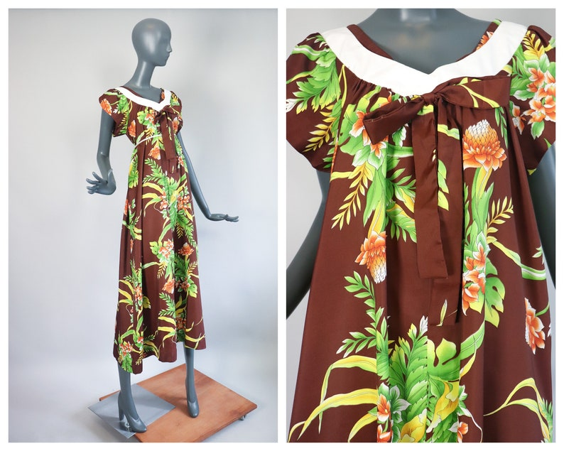 Hawaiian Muumuu Tiki Tent Trapeze Dress 70s Maxi Psychedelic image 0