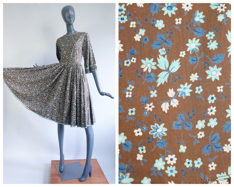 1950s Cotton Print Dress 50s Fit and Flare Picnic Patio Full image 0