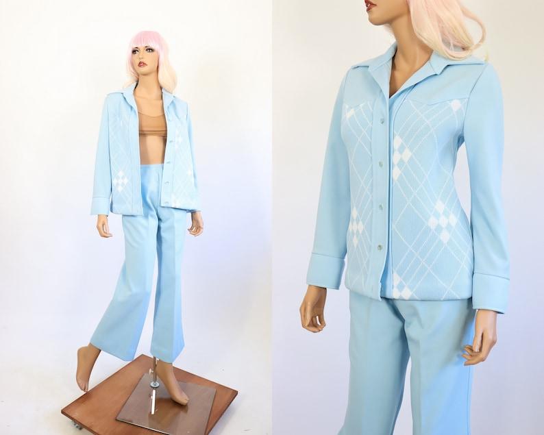 db0f1bfde078 70s Pantsuit 1970s Jumpsuit Baby Blue Pastel Plaid Bell