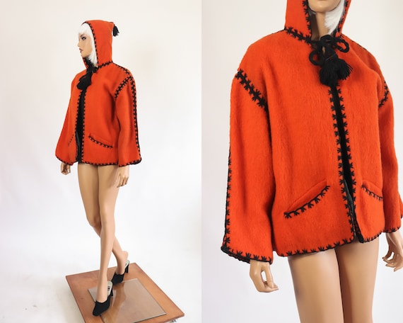 40s Halloween Jacket 50s Wool Hooded Coat 1950s Fe