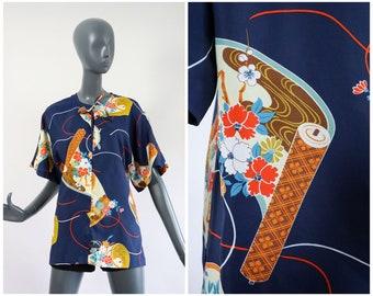 1970s Liberty House Hawaiian Top 70s Flower Power Shirt Blouse Hostess Tunic Beachwear Floral Summer Groovy Nani of Hawaii Medium