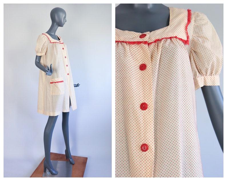 1930s Chore Dress 30s Smock Jacket Loungewear Dust Bowl SWISS image 0
