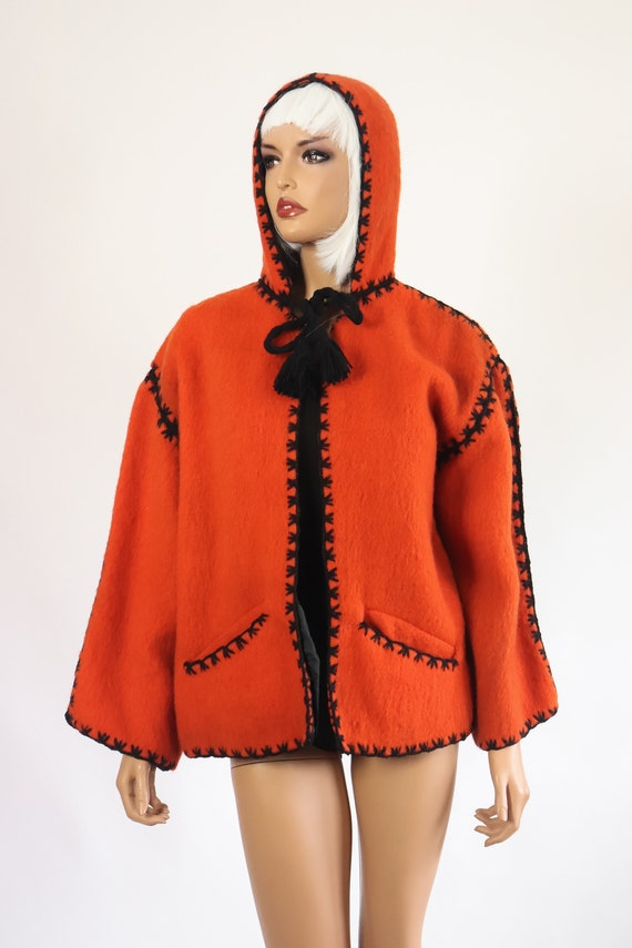 40s Halloween Jacket 50s Wool Hooded Coat 1950s F… - image 2