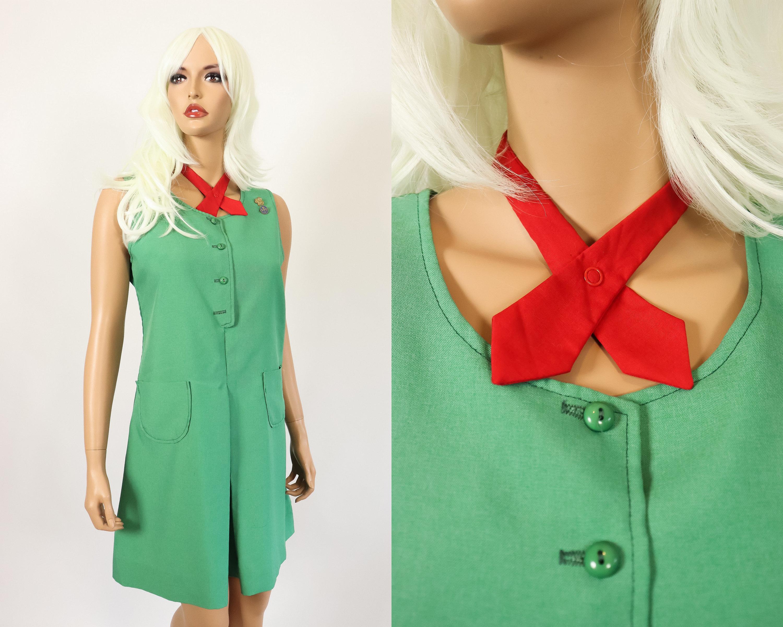 fb42ecd54abf 70s Mod Mini Dress 1970s Girl Scout Uniform Jumper Tie Ascot