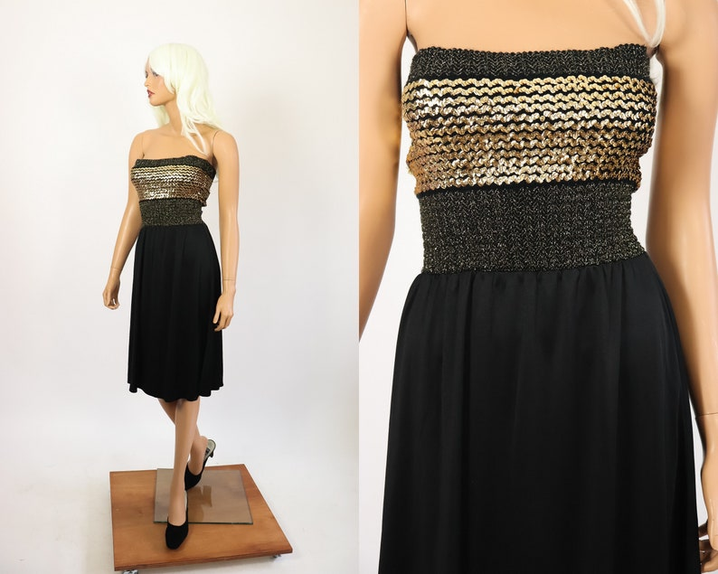 4419b44a73 70s Sequin Studio 54 Party Dress 1970s Lurex Disco Strapless Tube Top  Cocktail Metallic Knit Gold NYE New Years Eve Evening Sparkle Medium
