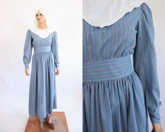 c62a66eec Peasant Prairie Maxi Dress Colonial Revival Pioneer 70s | Etsy