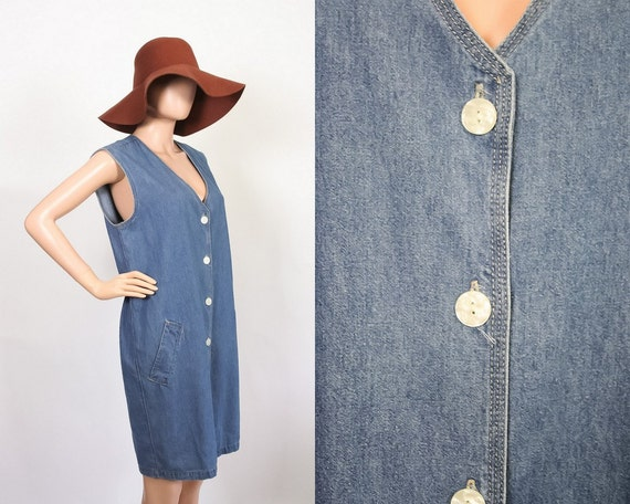 Jean Dress Button Down Denim Vintage 90/'s Sleeveless V Neck Collar Outlaw Blue Jeans Size 7 Mid Length
