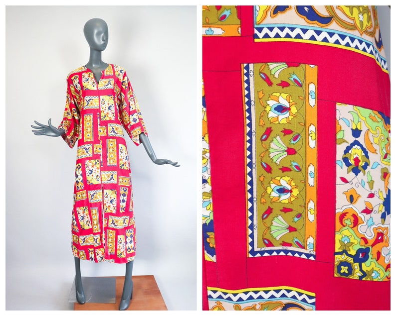 Bohemian Maxi Dress 1960s Psychedelic Print Cotton Caftan image 0