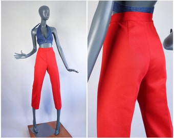 70s Trousers 1970s Pants High Waisted Solid Red 60s Cropped Leg Polyester Knit Groovy Slacks Hi Rise 1970s Mod Straight Leg 26 27 XS Small