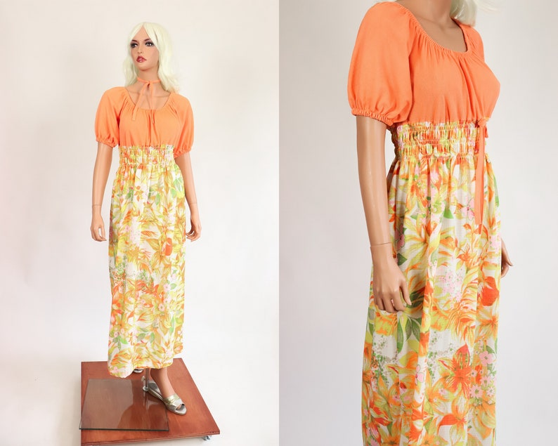 a9007231ec 70s DAY GLO Floral Maxi Dress Gown 1970s EMPIRE Waist Ruched