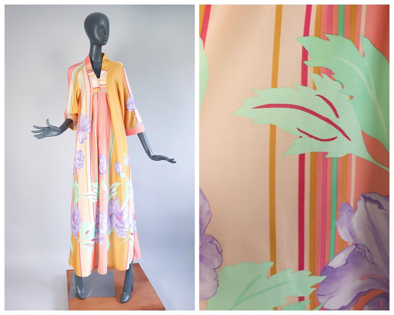 70s Zip Up Maxi Dress Psychedelic Pastels Lounge Caftan 1970s image 0