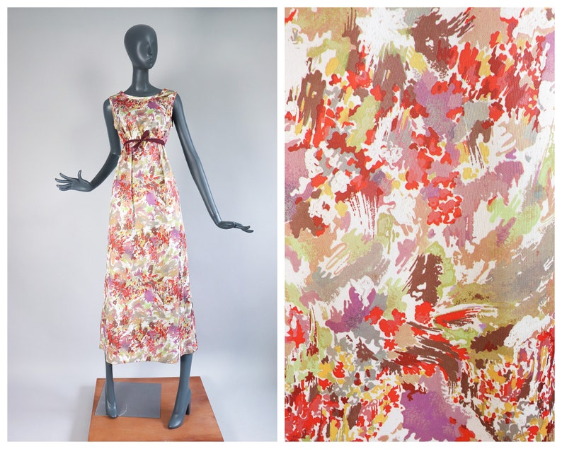 70s Abstract Maxi Dress 1970s Psychedelic Print Groovy Hostess image 0