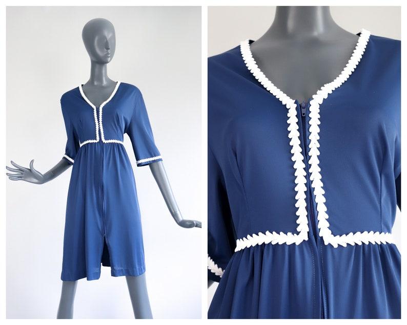70s Zip Up Lounge Dress Prairie Peasant Nightgown Bohemian image 0