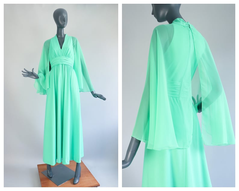 Angel Bell Sleeve Sheer Chiffon Mint Green Gown 1960s Prom image 0