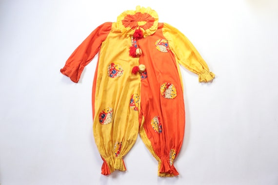 Antique Clown Costume 1920s Jester Jumpsuit Hallow