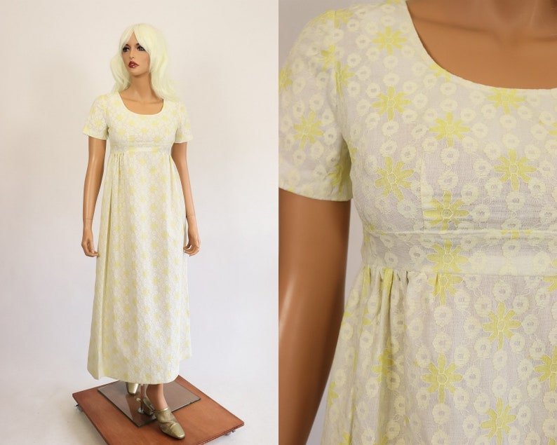 229964cf6c2 60s Lace Gown 1960s Prom Dress Pale Yellow Babydoll Floral