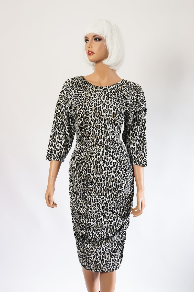 Animal Print Wiggle Hourglass Dress Leopard Cocktail Party 80s Body Con 1980s Bandage Pin Up 90s Retro 1990s Vamp Backless Bow Small Medium