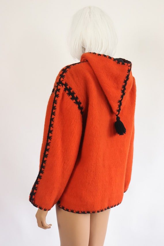 40s Halloween Jacket 50s Wool Hooded Coat 1950s F… - image 9