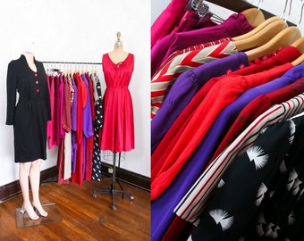 Vintage Clothing Wholesale Lot #16 - Dresses, Skirts, Shirts - Reds, Pinks, Purples - 80s 90s, Prints, Solids, Secretary Style, Shirtdresses
