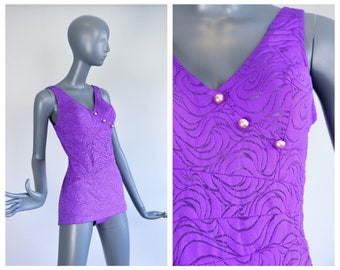 1960s CATALINA Bathing Suit 60s Pinup Swim Suit Pin Up 60s Groovy Mod Psychedelic Waves See Through Mesh Purple One Piece Bombshell Medium