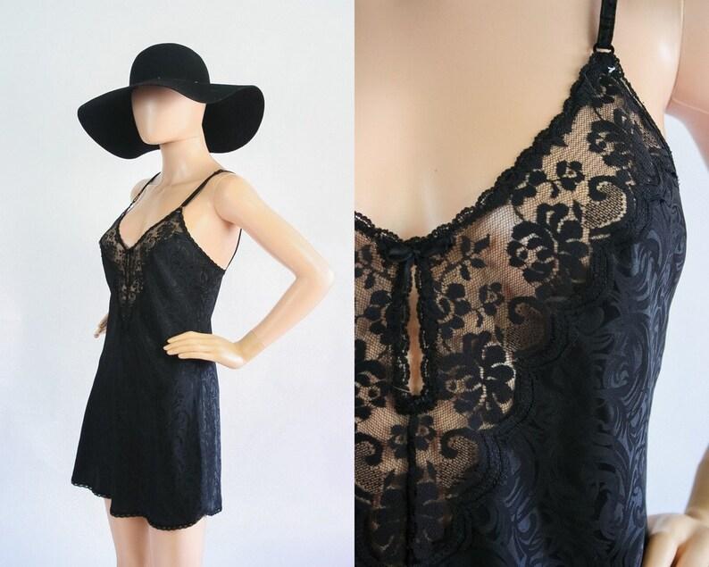 efd7c66390406 90s Slip Mini Dress Black Babydoll Nightie Teddy Nightgown | Etsy
