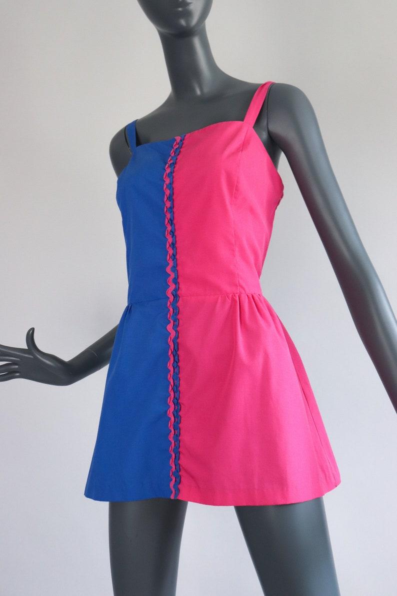 Micro Mini Sundress 70s Dress Skirted Smocked Top Colorblock Shirt 1970s Sunsuit Jumper HOURGLASS Beachwear Pinup Harlequin Medium Large