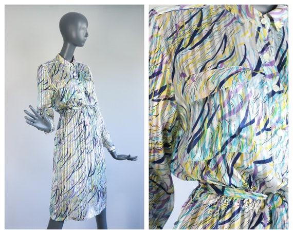 Sheer Printed Silk Dress Floral Abstract See Throu