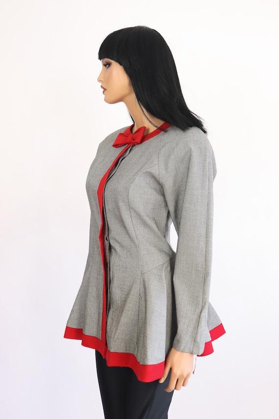 Vintage 80s Doe 50s Black Soft Cardigan Rockabilly Dolly Lace Collar Sweater Jacket Top
