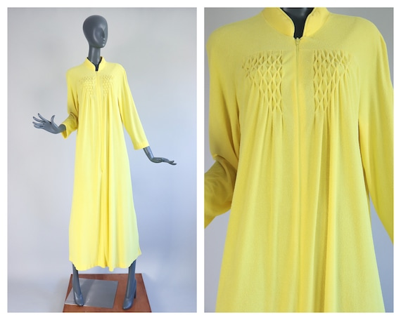 Terry Cloth Maxi Dress Zip Up Robe Canary Yellow 1