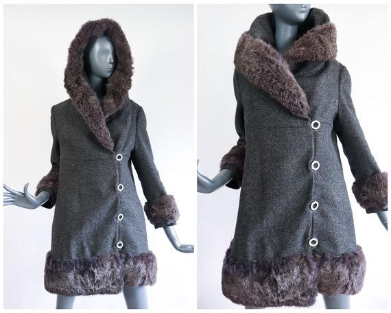 60s Mod Wool Fur Coat 1960s Russian Princess Carna