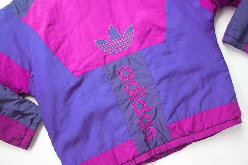 80s Adidas Coat Jacket 1980s Trefoil Trainer Track Jacket Zip Up 90s Color Block Spell Out Windbreaker Purple Oldschool Retro Athletic 1990s