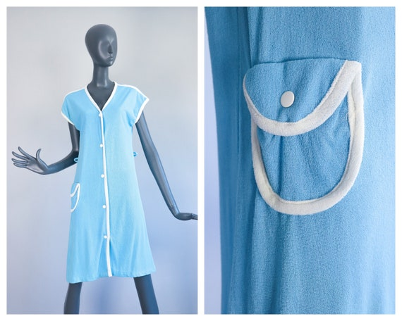 1960s Summer Robe Baby Blue Towel Dress 70s Terry