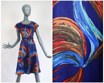 1960s Fit and Flare Dress 60s Mod Psychedelic Swirl Geometric Graphic Print Retro Groovy Belted Shirtdress Polyester Knit Large XL