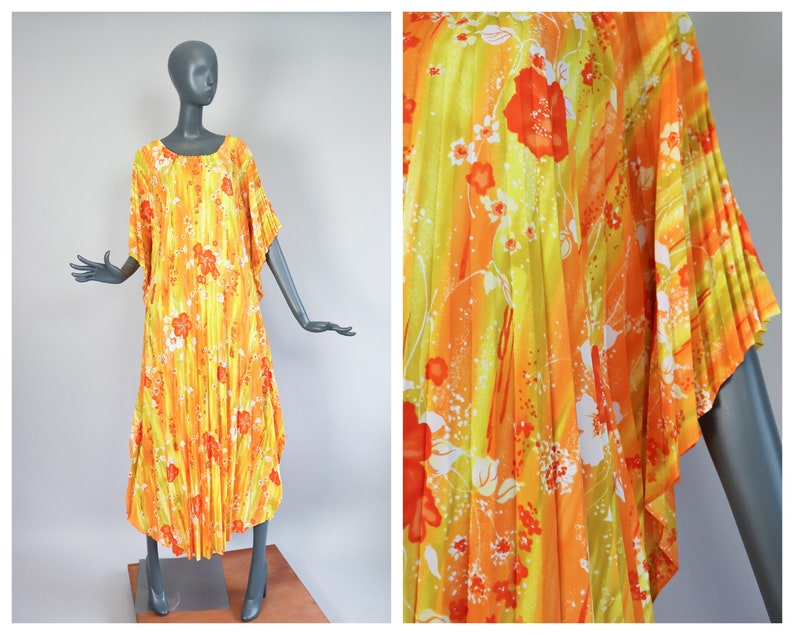 70s Pleated Caftan Hawaiian Tent Trapeze Dress Psychedelic Day image 0