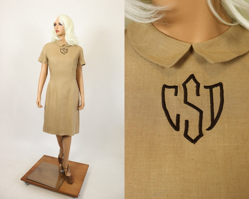 60s Linen MCMULLEN Dress Monogram Prep School Girl Uniform image 0