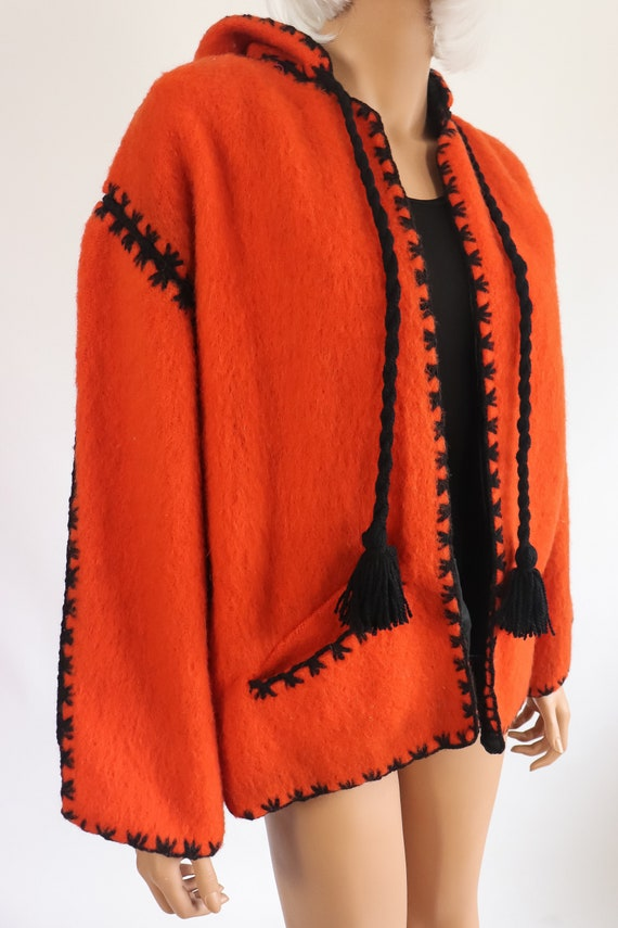 40s Halloween Jacket 50s Wool Hooded Coat 1950s F… - image 10