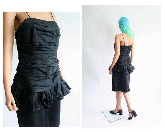 1980s Party Dress 80s Ruffle Wiggle Prom Dress Ho… - image 3