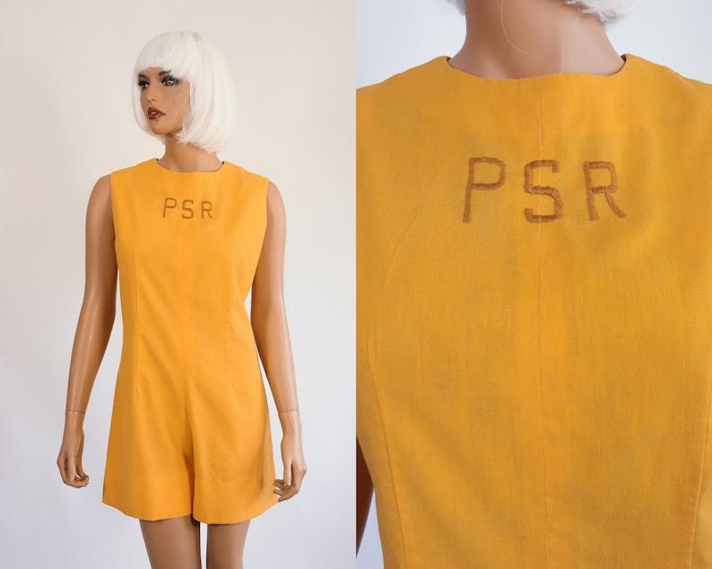 0cdb3f20969 60s Romper Monogram Gym Uniform Jumper 1960s Mod Mini Dress