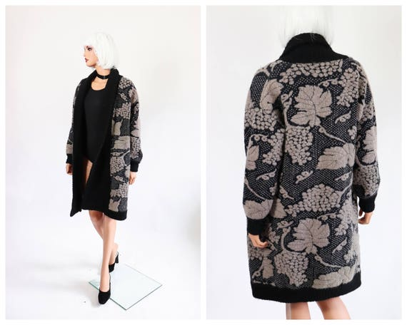 Mohair Cardigan Duster Wool Sweater Coat Knit Jack