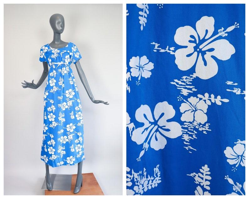 Cotton Hawaiian Muumuu 1970s Dress 70s Hawaii Maxi Ui-Maikai image 0