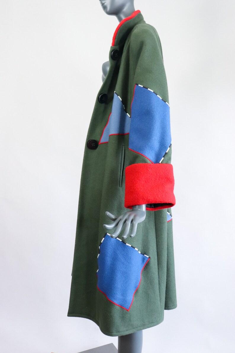 80s Colorblock Wool Coat 1980s Post Modern Avant Garde Jacket Colorful Oversized Statement Patchwork Appliqu\u00e9 Wearable Art Abstract Medium