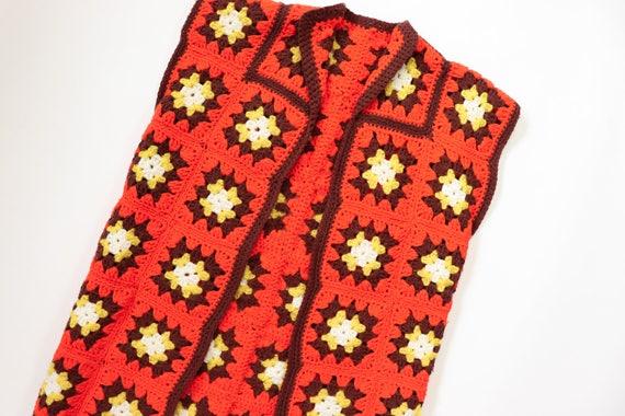 Granny Square Vest Afghan Crochet Jacket 70s Sleev