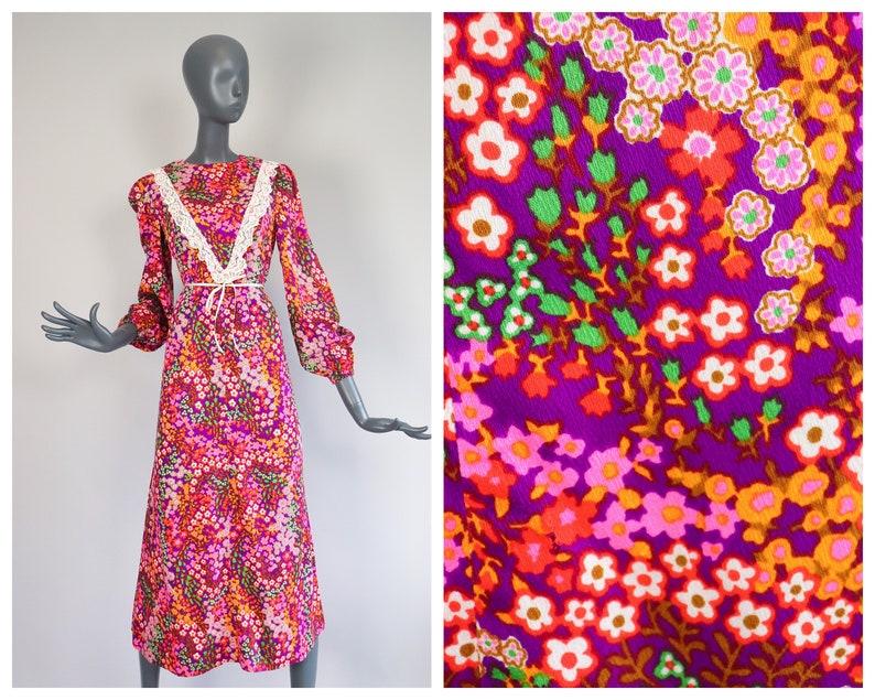 70s Hawaiian BARKCLOTH Dress Psychedelic Day Glo Maxi Dress image 0