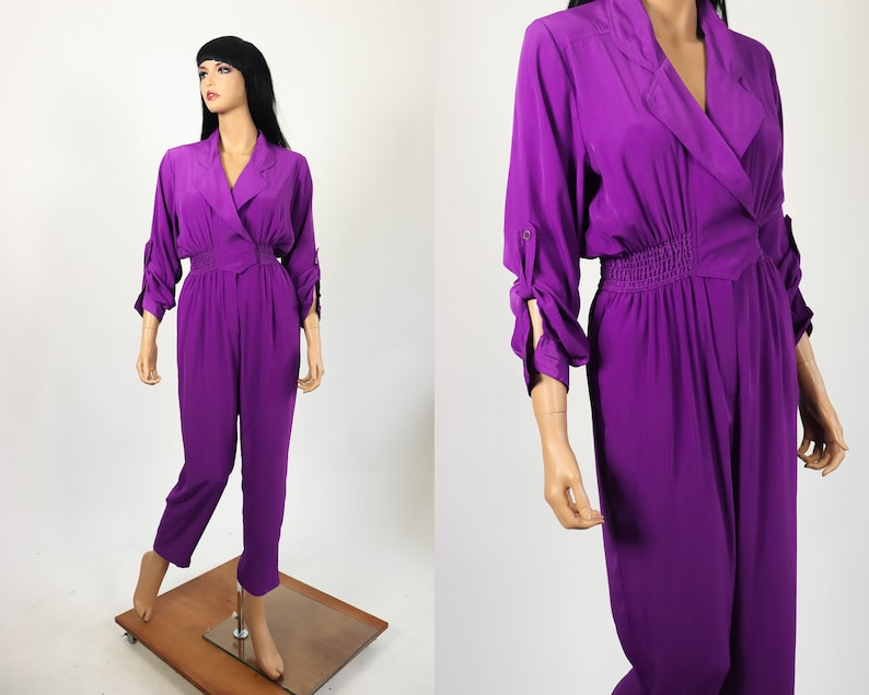 434ad746e09 Womens Jumpsuit 80s Mechanic Overalls Purple 90s Silky Romper