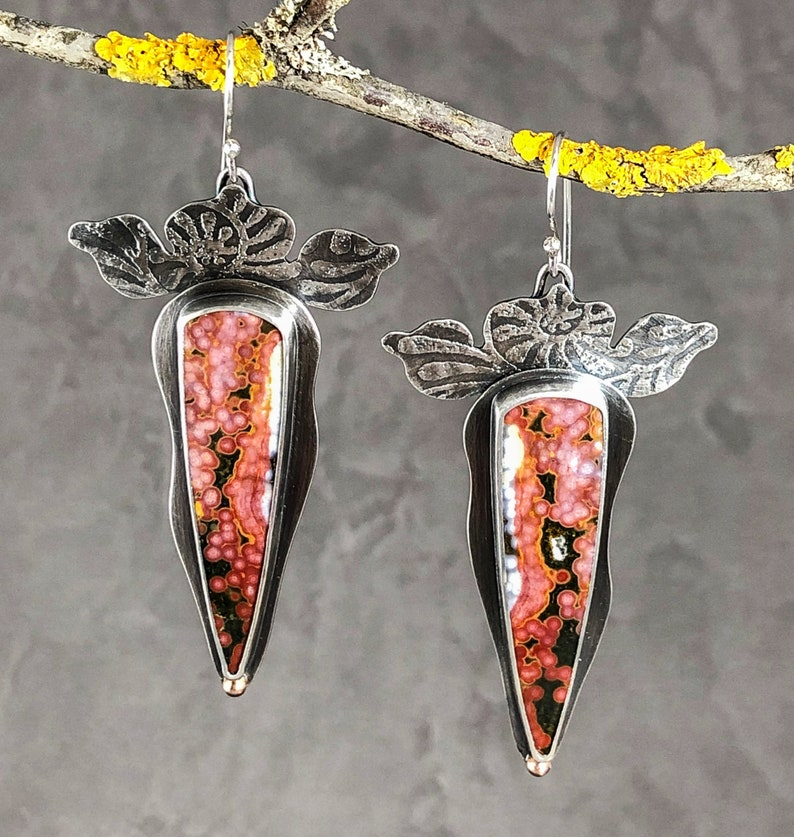 Ocean Jasper and Rose Gold Botanical Earrings