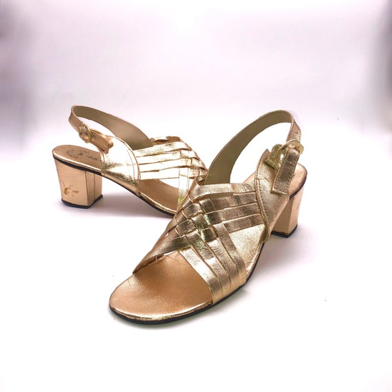 Gold faux leather block heel sandals sz. 9.5