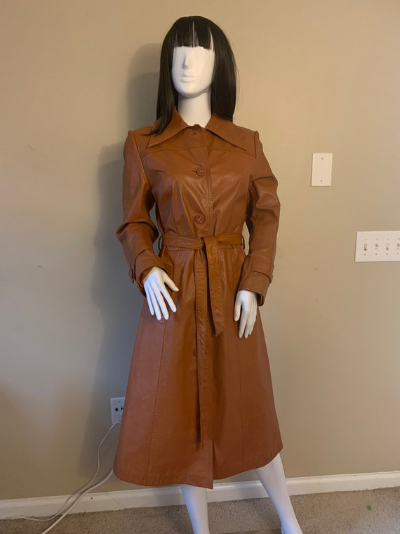 Vintage Camel Leather Trench Coat